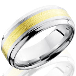 Style 103695: Cobalt Chrome 8mm Beveled Band with 3mm 14KR