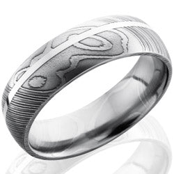 Style 103811: Damascus Steel 7mm Domed Band with 1mm SS