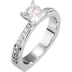 Style 102290: Princess Cut Engagement Ring With Round Side Diamonds