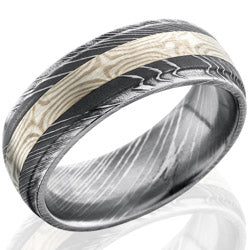 Style 103826: Damascus Steel 8mm Band with 3mm SS and Palladium Mokume