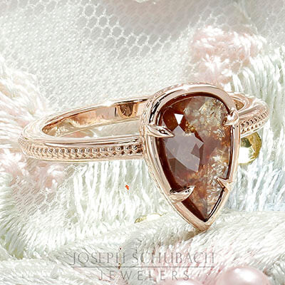 Style 103382: Pear Shape Amber Color Rough Diamond Engagement Ring
