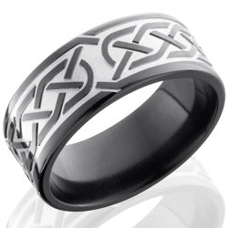Style 103941: Zirconium 9mm Flat Band with Celtic Pattern