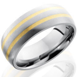 Style 103546: Titanium 8mm Domed Band with 2mm 14KY
