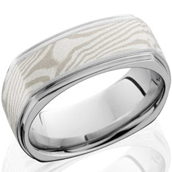 Style 103691: Cobalt Chrome 8.5mm Flat Band with Grooved Edges, Sterling Silver, Palladium Mokume