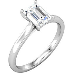 Style 102233: Radiant Shaped Cathedral Solitaire Engagement Ring