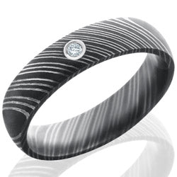 Style 103803: Damascus Steel 5mm Domed Band with Bezel Set .03ct White Round Diamond