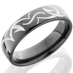 Style 103869: Zirconium 6mm Domed Band with Tribal Pattern