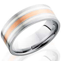 Style 103730: Cobalt Chrome 8mm Flat Band with 14KR and Sterling Silver