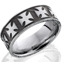 Style 103833: Damascus Steel 8mm Flat Band with Maltese Cross Pattern