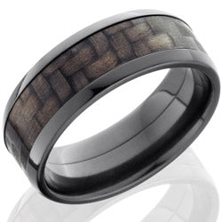Style 103943: Zirconium 8mm Beveled Band with 5mm of Carbon Fiber