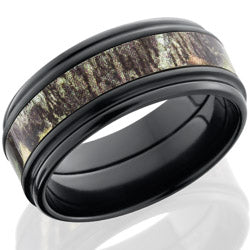 Style 103959: Zirconium 9mm flat band with rounded edges and 4mm MossyOak camo