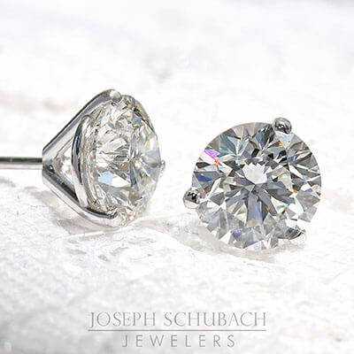 3 Prong Martini Stud Earrings
