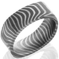 Style 103965: Tiger Patterned Damascus Steel 8mm Flat, Square Band