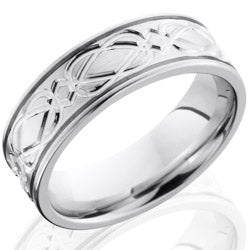 Style 103683: Cobalt Chrome 7mm Flat Band with Celtic Pattern