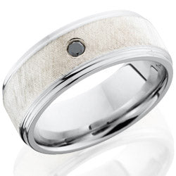 Style 103742: Cobalt Chrome 8mm flat band with grooved edges with 5mm Sterling Silver center