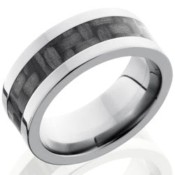 Style 103603: Titanium 8mm Flat Band with 4mm of Carbon Fiber