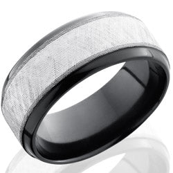 Style 103935: Zirconium 9mm Beveled Band with 5mm SS