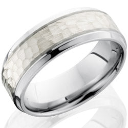 Style 103697: Cobalt Chrome 8mm Beveled Band with 4mm SS