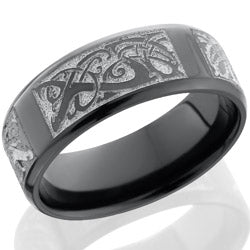Style 103885: Zirconium 8mm beveled band with laser carved Serpents pattern