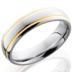 Style 103650: Cobalt Chrome 6mm Domed Band with 2mm Milgrained 14KY