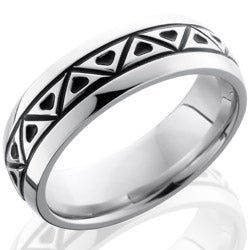 Style 103674: Cobalt Chrome 7mm Domed Band with Triangle Pattern
