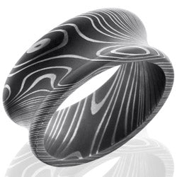 Style 103798: Damascus Steel 10mm Concave Band with Rounded Edges