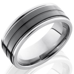 Style 103859: Ceramic and Tungsten 8mm Flat Band