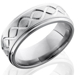 Style 103573: Titanium 8mm Flat Band with Grooved Edges and Infinity Pattern