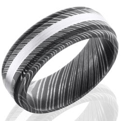Style 103839: Damascus Steel 8mm Domed Band with Rounded Edges and 2mm 14KW