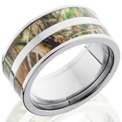Style 103612: Titanium 10mm Flat Band with 2 3mm of Realtree AP Camo