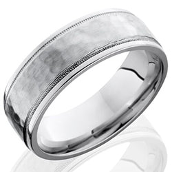 Style 103663: Cobalt Chrome 7.5mm Flat Band with Grooved Edges and Milgrain