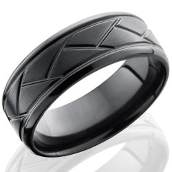 Style 103889: Zirconium 8mm Beveled Band with Weave Pattern
