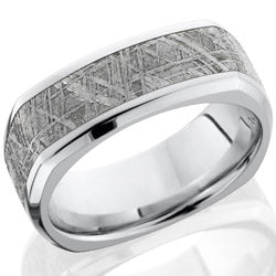 Style 103706: Cobalt Chrome 8mm square band with beveled edges and 5mm of meteorite