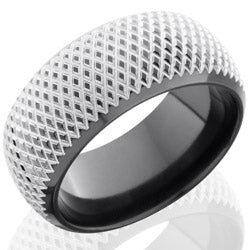 Style 103863: Zirconium 10mm Domed Band with Beveled Edges and Knurl Pattern