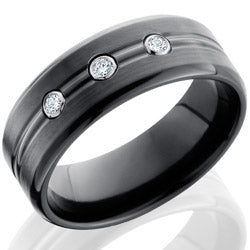 Style 103888: Zirconium 8mm Beveled Band with Domed Center and .05ct White Round Diamonds