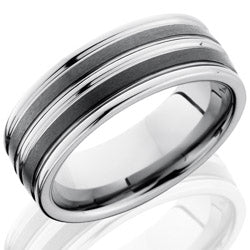 Style 103854: Ceramic and Tungsten 8mm Flat Band
