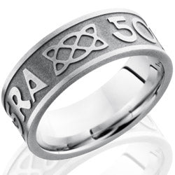 Style 103755: Cobalt Chrome 8mm Flat Band with Celtic Pattern