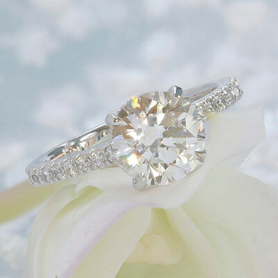 Style 103366: The Victoria Engagement Ring for Round Center with Pavé Diamond Band and Under Bezel