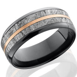 Style 103887: Zirconium 8mm beveled band with 5mm meteorite inlay and 1mm 14KR center