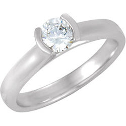 Style 102264: Round Half Bezel Set Solitaire Engagement Ring