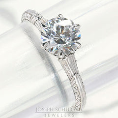 Style 103201: Vintage Style Round Solitaire Engagement Ring With Engraving