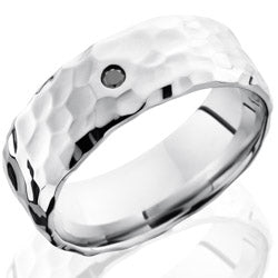 Style 103699: Cobalt Chrome 8mm Beveled Band with Flush Set .05ct Black Round Diamond