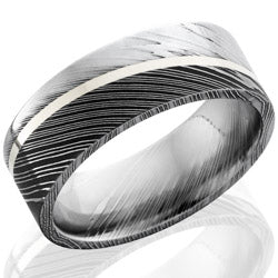 Style 103832: Damascus 8mm flat band with 1mm Sterling Silver set at an angle