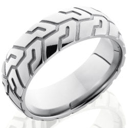 Style 103550: Titanium 8mm Domed Band with Tire Tread Pattern