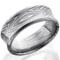 Style 103814: Zebra Patterned Damascus Steel 8mm Concave Band with Beveled Edges