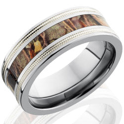 Style 103621: Titanium 8mm Flat Band with 3mm of Max4 Camo and Stelring Silver Milgrained Inlay