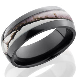 Style 103894: Zirconium 8mm domed band with 4mm Real Tree AP Snow pattern