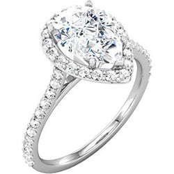 Style 102239-10x7mm: Pear Shaped Halo Engagement Ring With Diamonds