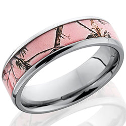 Style 103968: Titanium 6mm beveled band with Pink Real Tree AP pattern