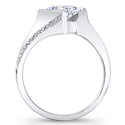 Style 102725: Barkev's Contemporary Bypass Princess Cut Engagement Ring With Diamond Accents